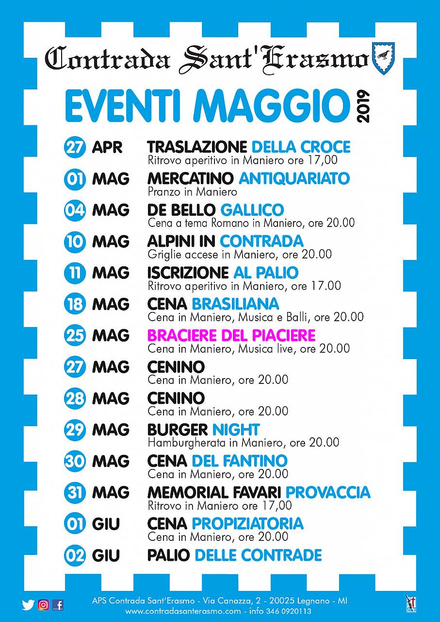 Calendario Eventi.Calendario Degli Eventi Della Contrada Sant Erasmo 2019